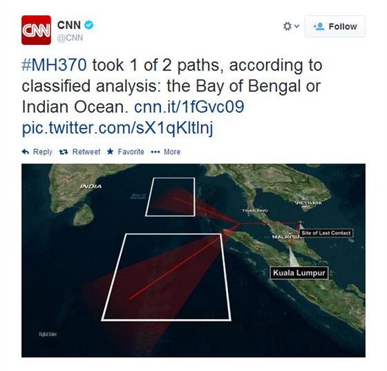 Podle zpráv, které se na CNN objevily 14.3. cca. ve 23:00 je možné, že let...