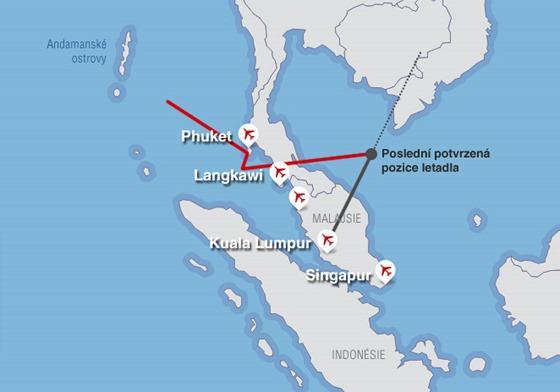 Mapka letišť v okolí letu MH370 společnosti Malaysia Airlines.