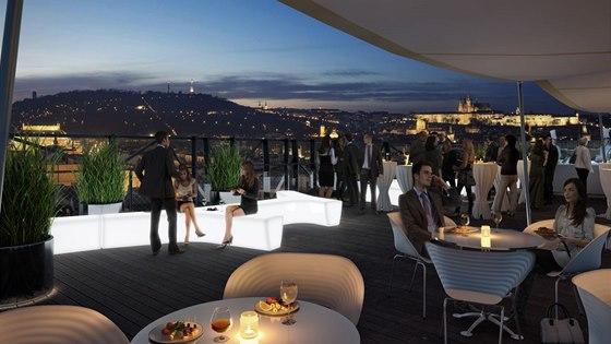 Vizualizace: Pohled z terasy, u níž se počítá i s pronájmem na různé firemní
