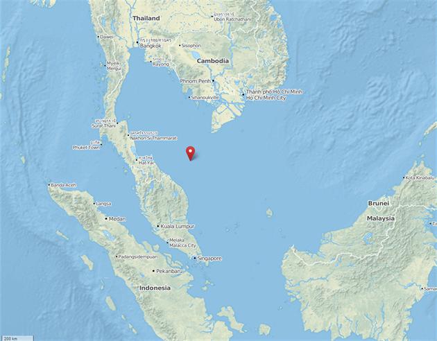 Mapa - poslední souřadnice letu MH370