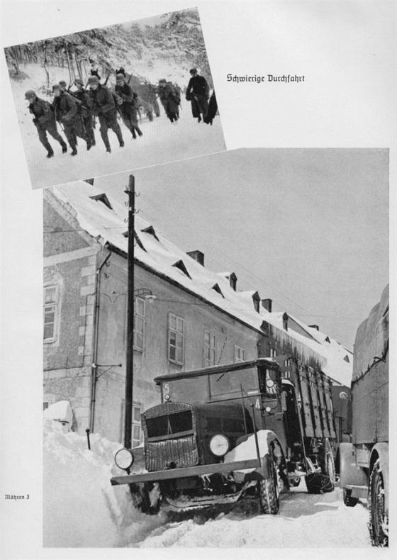 Vážné problémy ale začíná mít těžší technika a motorizovaná vozidla, která končí zapadlá v závějích sněhu. (převzato z knihy Marschbefehl: Mähren - Mit VIII. A.K. ins Protektorat)