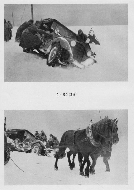Běžný obraz německého postupu na Olomouc dne 15. března 1939. Původní německý popisek porovnává sílu dvou a osmdesáti koňských sil (PS).