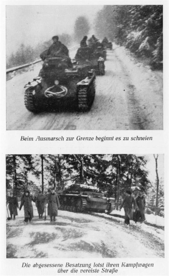 Problémy udržet se na cestách měla i tanková technika – zde stroje tankového pluku 6, který postupoval přes Lužické hory směrem na Prahu.