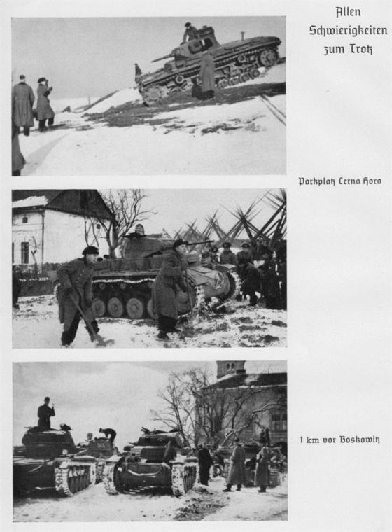 Momentky ze života německých tankistů 2. tankové divize nasazené na jižní Moravě u Boskovic.