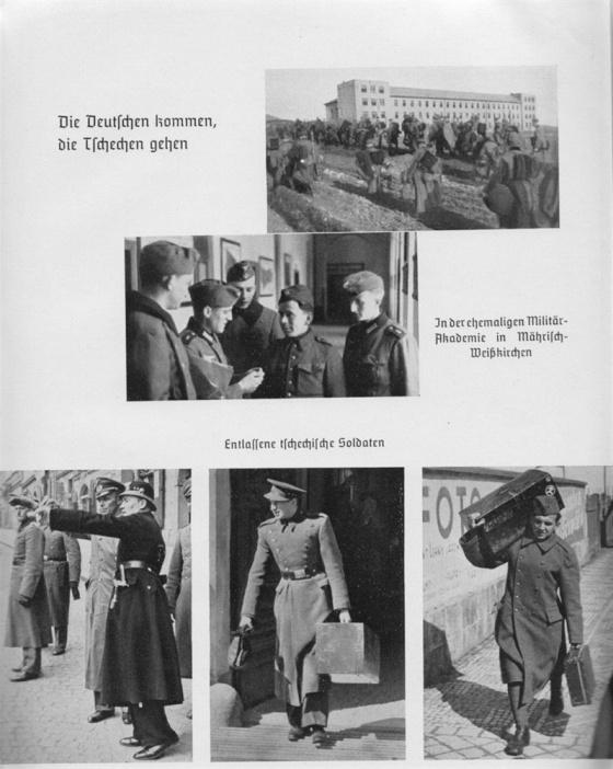 Po převzetí vojenské ochrany nad Protektorátem byla postupně rozpuštěna čs. armáda. Snímky z německé knihy zachycují čs. vojáky odcházející do civilu.