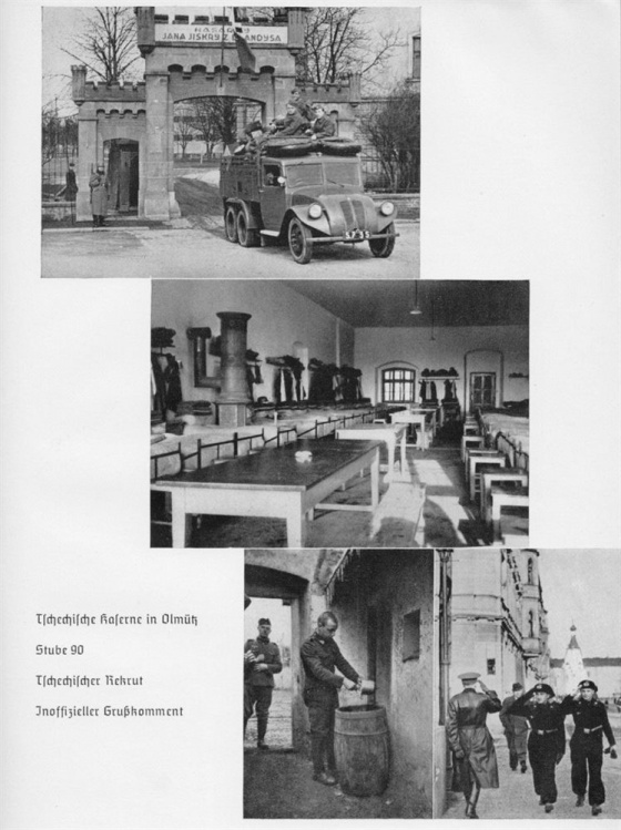 Momentky z čs. kasáren v Olomouci, které zachycují společnou koexistenci československé a německé armády na jaře 1939.