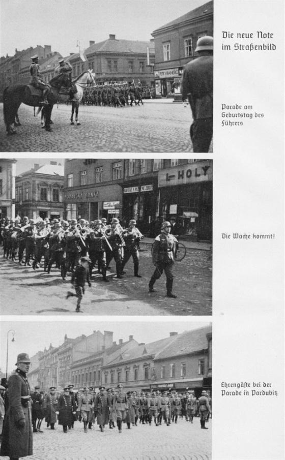 Také v Protektorátu si Němci potrpěli na svoje parademarsche a pořádali jednu vojenskou přehlídku za druhou, zvláště u příležitosti 50. narozenin Adolfa Hitlera. Ze spodního snímku pořízeného v Pardubicích je patrné, že se přehlídky museli účastnit i českoslovenští důstojníci.