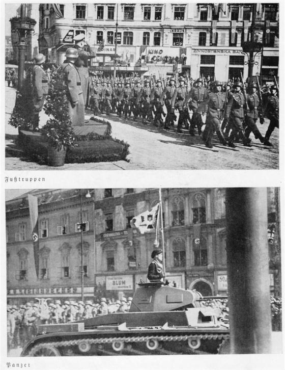 Ani v Brně nezapomněli Němci předvést svůj parademarsch. Navíc předvedli i své lehké tanky patřící do svazků 2. tankové divize, která se podílela na obsazování jižní Moravy.