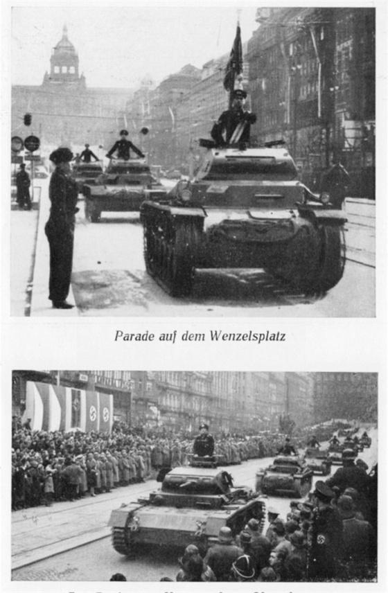 Na Václavském náměstí pro změnu rachotily pásy tanků 3. tankové divize. Na spodním snímku je zachycen dokonce velitel tankového pluku 6 při slavnostním defilé německých jednotek před říšským protektorem von Neurathem.
