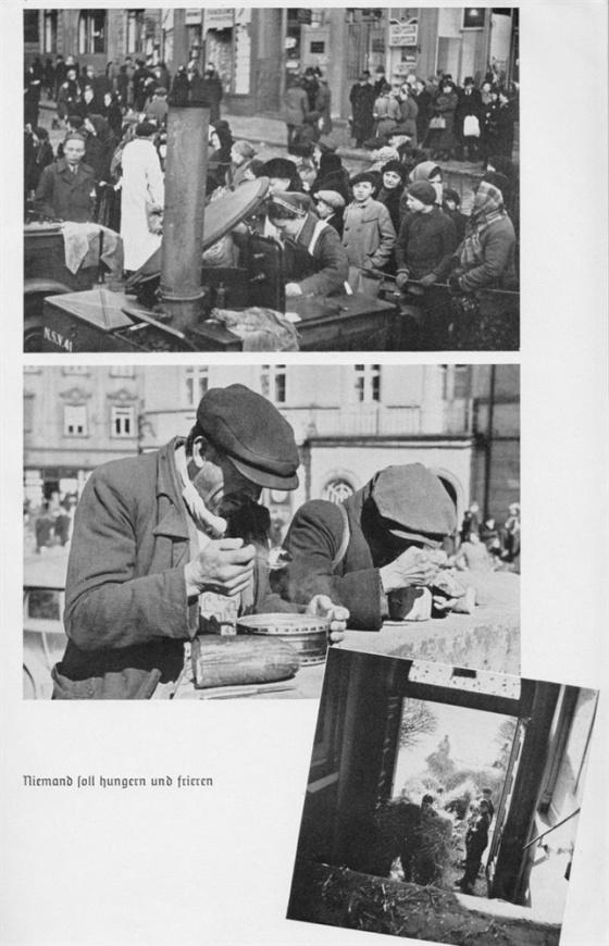 Podobně jako při obsazování Sudet Němci využívali propagandu k vytvoření falešného obrazu o utrpení a hladovění obyvatelstva v Čechách a na Moravě. Podobné propagační snímky zachycující fronty hladovějících u německých polních kuchyní pochopitelně zvyšovaly prestiž německého wehrmachtu.