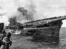 Březen 1945. Americká loď USS Franklin po útoku kamikadze.