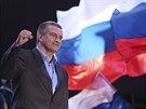 Krymský premiér Sergej Aksjonov vítá v Simferopolu výsledky referenda o...