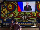Projev Vladimira Putina sledovali i obyvatel� Simferopolu (18. b�ezna 2014)
