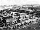 Pohled na továrnu Rustonka v pražském Karlíně v 19. století, tedy v dobách její...