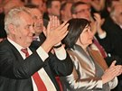 Prezident Miloš Zeman a první dáma Ivana Zemanová při koncertu Hudby Hradní...