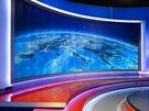 Hlavní dominanta nového studia Televizních novin - zakřivená projekční stěna.