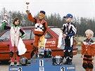 Karel Hanika (uprostřed) vítězil už v závodech minibiků.