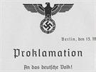 Hitler okamžitě vydal prohlášení k německému lidu, ve kterém ohlašuje konec existence Československa.