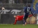 Plzeňský Tomáš Hořava (druhý zprava) se raduje z gólu, který dal už ve 3....