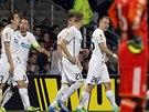 Plzeňští fotbalisté se radují krátce poté, co Tomáš Hořava otevřel už v 3....