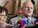 Slovensk� prezident Ivan Ga�parovi� s man�elkou Silvi� hovo�� 15. b�ezna v...