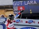 Lara Gutová po vítězství v super-G v Lenzerheide.