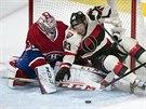 Aleš Hemský z Ottawy skončil v klíně montrealského gólmana Careyho Price.