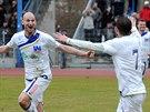 Tomáš Smola (vlevo) a Emil Rilke slaví gól Ústí.