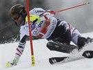 Mario Matt na svahu v Lenzerheide při slalomu Světového poháru.