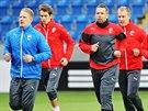 Fotbalová Plzeň trénuje před zápasem s Lyonem.