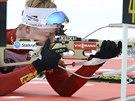 Nor Johannes Thingnes Bö střílí na závodu SP ve finském Kontiolahti