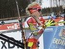 V CÍLI. Gabriela Soukalová po skončení sprintu ve finském Kontiolahti