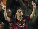 PRVN� G�L Z�PASU. Lionel Messi z Barcelony oslavuje g�l proti Manchesteru City.