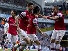 POJĎ SEM, TY KLUKU! Fotbalisté Arsenalu jsou nadšeni z trefy Tomáše Rosického...