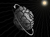 Ilustrace předpokládaného průběhu rozpadu planetky  P/2013 R3. Nerovnoměrné...