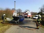 Požár osobního auta Jankovice - Kozaše.