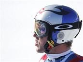Aksel Lund Svindal v cíli super-G ve �výcarském Lenzerheide