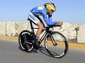Alberto Contador v závěrečné časovce na Tirreno-Adriatico.