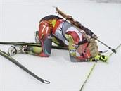 UF. Česká biatlonistka Gabriela Soukalová odpočívá v cíli sprintu ve finském...