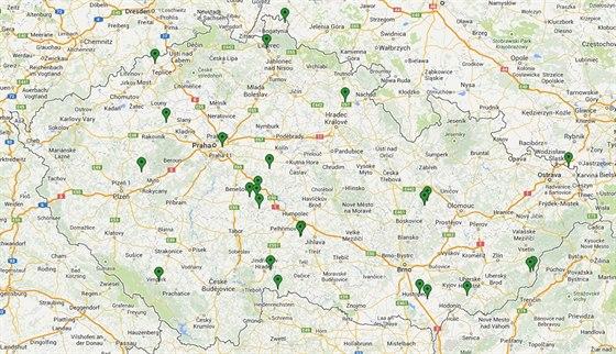Mapka lokalit vykoupených za posledních šest let díky sbírce Místo pro přírodu