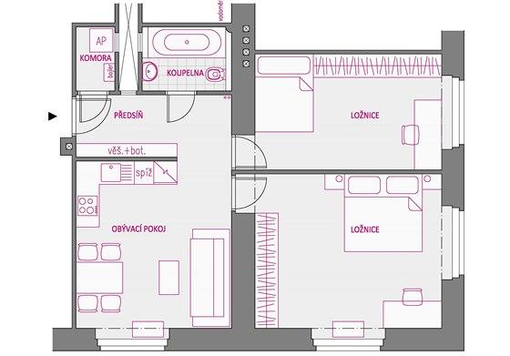 Varianta 1 - menší ložnice je chápána jako budoucí dětský pokoj.