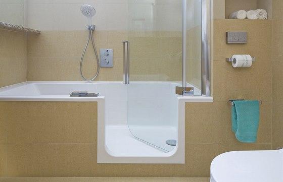 Detail vstupu do vany - zejména starším lidem může klasická vana dělat obtíže.