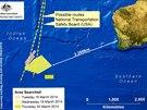 Oblast v Indickém oceánu, kde se obejvily možné trosky letu MH370 (20. března 2014)
