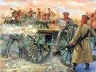 Ruské dělostřelectvo v bitvě u Balaklavy v roce 1854