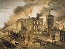 Krym, 8. srpna 1855. Ruské jednotky se stahují z hořícího Sevastopolu.