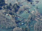 Leteck� pohled na sesuv p�dy v americk�m st�t� Washington (25. b�ezna 2014)