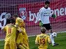 Dukla oslavuje, příbramský brankář Hruška rozzlobeně odkopává míč. Pražané od...