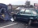 Několik hromadných havárií zablokovalo u Průhonic část dálnice D1 ve směru na...
