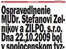 Omluva ve slovenském týdeníku Plus 7 dní