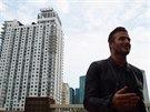 David Beckham rozmlouvá s novináři na v centru Miami Dade College a představuje...